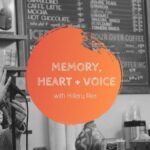 Material Feels guest Hillary Rea in a coffee shop telling a story with microphone in hand: Subject of podcast episode is in the center, Memory, Heart and Voice with Hillary Rea